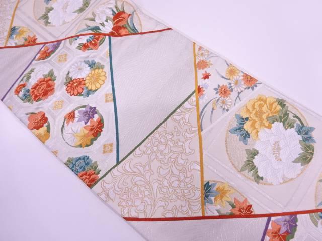切り嵌め風に蜀江文に花模様織出し袋帯【リサイクル】【中古】