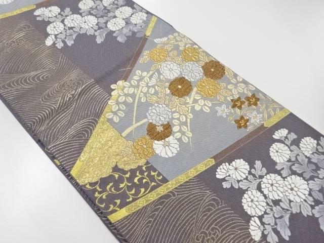 本金波に菊・萩模様織り出し袋帯【リサイクル】【中古】