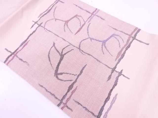 未使用品 本場白大島紬抽象動物模様織出し名古屋帯(5マルキ)【リサイクル】【中古】