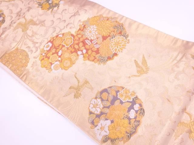 花丸文様に極楽蝶模様織出し袋帯【リサイクル】【中古】