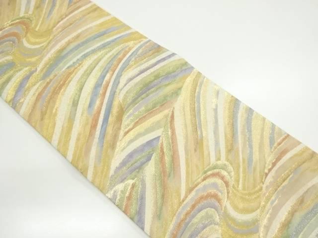 本金波模様織り出し袋帯【リサイクル】【中古】