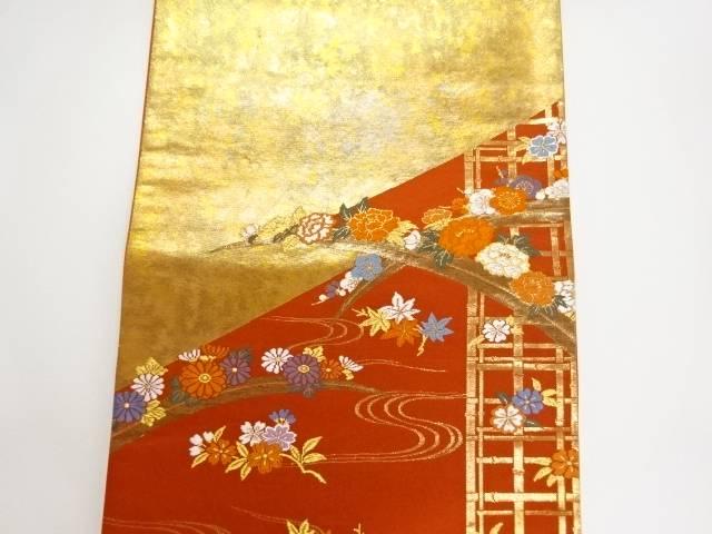 未使用品 金糸流水に紅葉・牡丹模様織り出し袋帯 リサイクル5LRc3q4jA