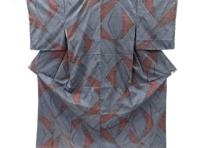 未使用品 仕立て上がり 幾何学に乱菊模様織り出し本場泥大島紬着物(5マルキ)