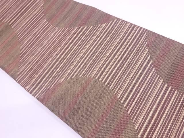 横段に抽象模様織出し全通袋帯【リサイクル】【中古】