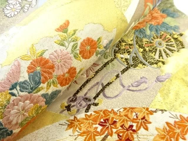 本金箔地紙に花車模様織り出し袋帯 リサイクルlJT1FKc