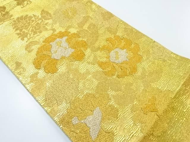 本金花模様織り出し袋帯【リサイクル】【中古】