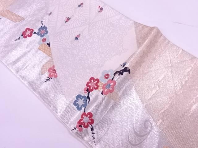 橋に梅・向かい鶴模様織出し袋帯【リサイクル】【中古】