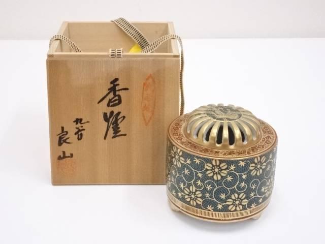 九谷焼 良山造 青粒唐草香炉