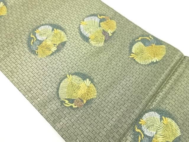 未使用品 本金丸に松葉模様織り出し袋帯【リサイクル】【中古】