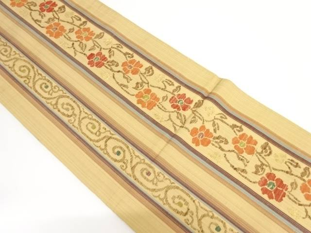 手織り紬縞に花唐草模様織り出し袋帯【リサイクル】【中古】