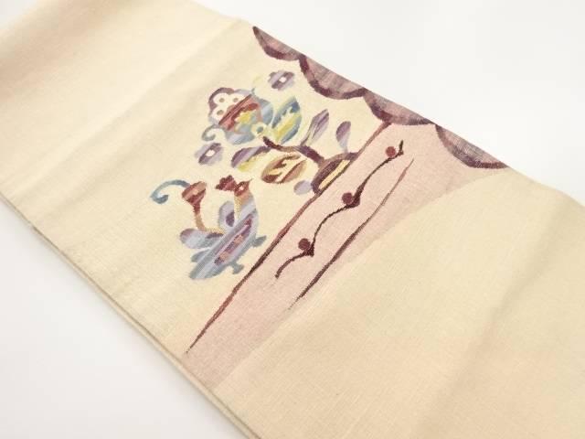 ファッションなデザイン 手織り紬金通し唐花に鳥模様織り出し袋帯【リサイクル】【】, 丹生郡 6d1ecadb