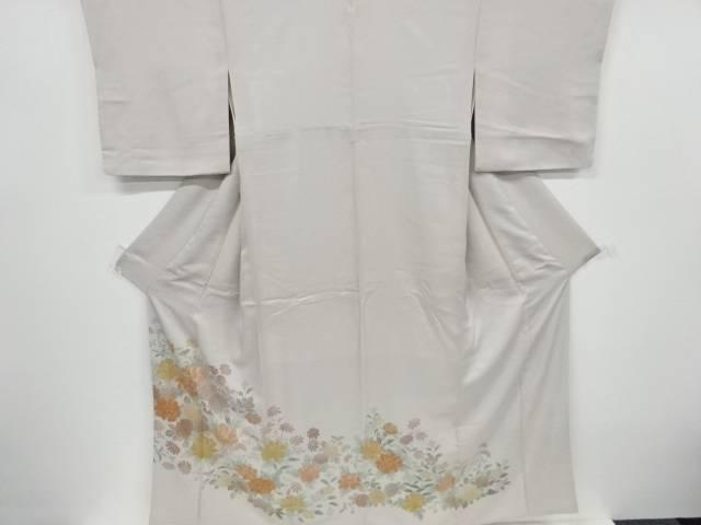 牡丹に菊・女郎花模様刺繍一つ紋色留袖(比翼付き)【リサイクル】【中古】