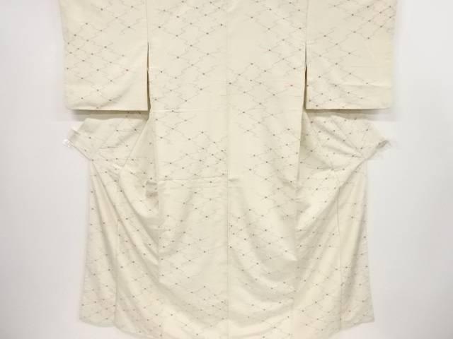 絞り松皮菱模様織り出し十日町紬着物 リサイクルiOkXwPuTZ