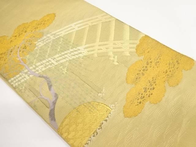 綴れ枝垂れ柳に橋模様織り出し袋帯【リサイクル】【中古】