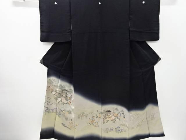 寿光織草花に時代人物風景模様織り出し留袖(比翼付き)【リサイクル】【中古】