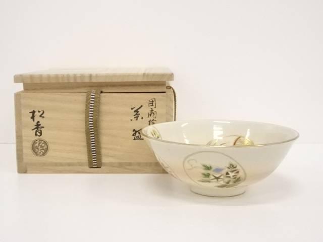 京焼 加藤松香造 団扇絵茶碗