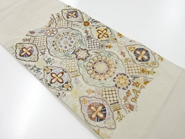 相良刺繍華紋模様袋帯【リサイクル】【中古】