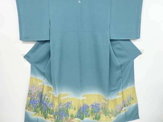 未使用品 仕立て上がり 寿光織霞に菖蒲・八つ橋模様織り出し一つ紋付け下げ訪問着