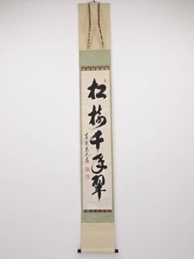 黄檗 加藤慈光筆 「松樹千年翠」 一行書 肉筆紙本掛軸(保護箱)