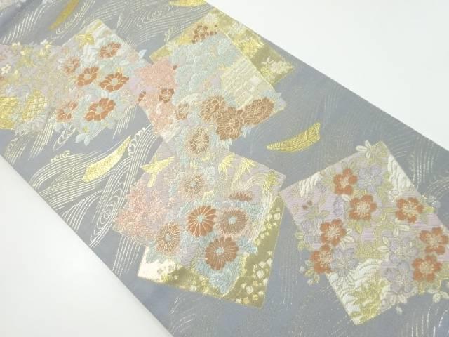 本金色紙に花・寺院模様織り出し袋帯【リサイクル】【中古】