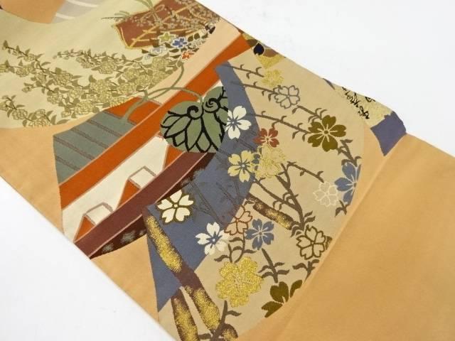 本爪綴れ地紙に枝垂れ桜模様織出し袋帯(着用可)【アンティーク】【中古】