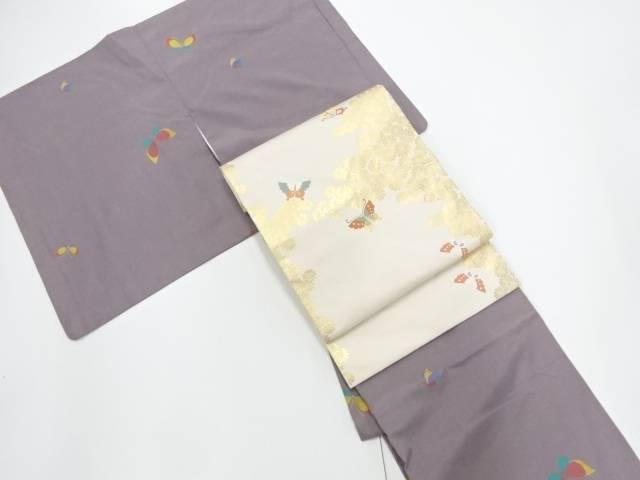 蝶模様織り出し米沢紬着物アンサンブル 名古屋帯セット【リサイクル】【中古】