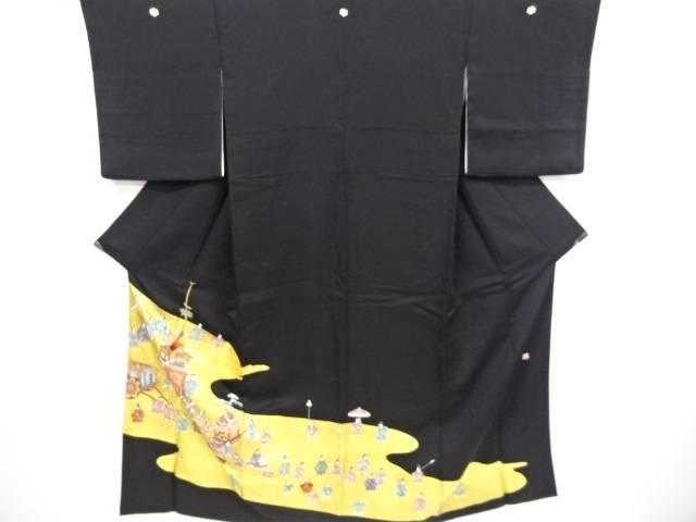 合計3980円以上の購入で送料無料 作家物 金彩手描き時代人物に祭風景模様刺繍留袖 リサイクル 5☆好評 比翼付 中古 割引も実施中