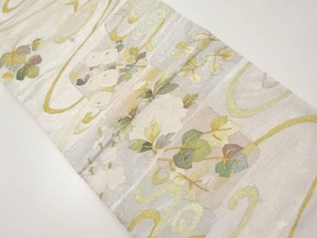 綴れ金銀糸色紙に牡丹・万寿菊模様織り出し袋帯【リサイクル】【中古】