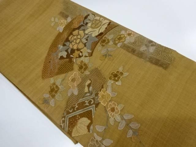 汕頭蘇州刺繍地紙に牡丹・椿模様紬袋帯【リサイクル】【中古】
