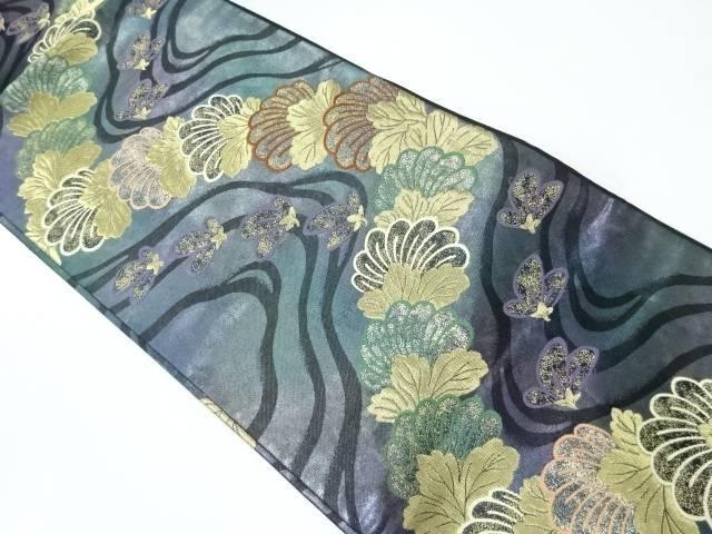 流水に花模様織出し暈し袋帯【リサイクル】【中古】