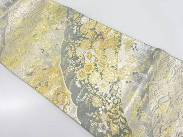 群鶴に草花模様織出し袋帯【リサイクル】【中古】