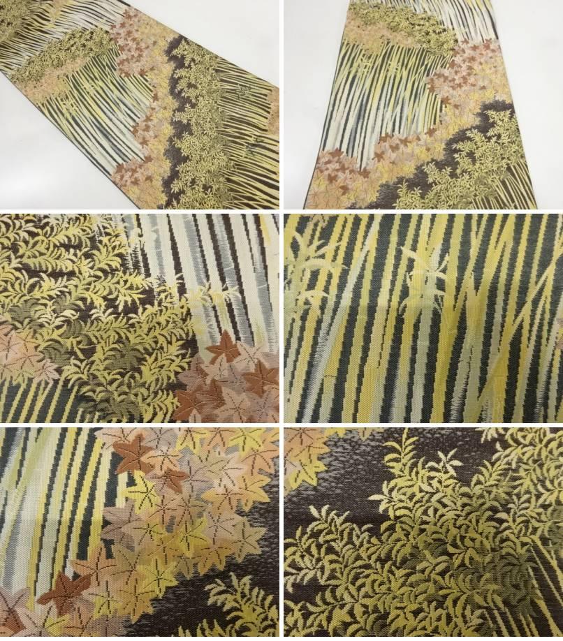 未使用品 廣部商事製 紅葉に草花模様織出し袋帯 リサイクルbyY6gv7f