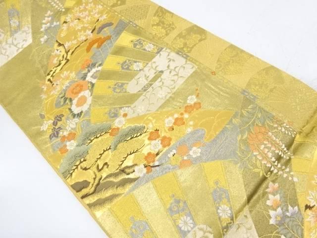 純金二重箔扇に松梅・草花模様織出し袋帯【リサイクル】【中古】