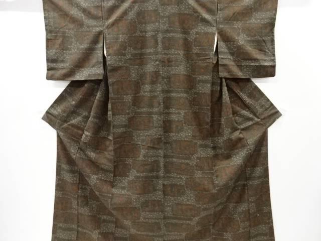 壁画模様手織り節紬着物【リサイクル】【中古】