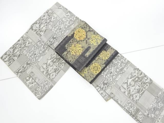 【合計1万円以上の購入で送料無料】  未使用品 仕立て上がり 霜鳥忍 彩天目織 花・宝尽くしに向かい鶴・蝶模様織り出し小紋着物・袋帯セット