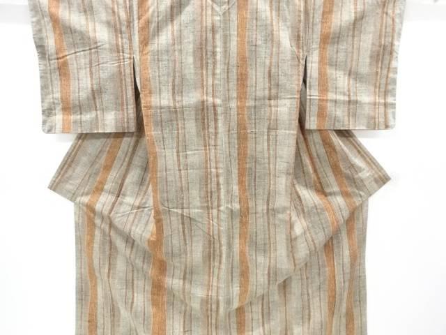 未使用品 縞織出手織り節紬着物【リサイクル】【中古】