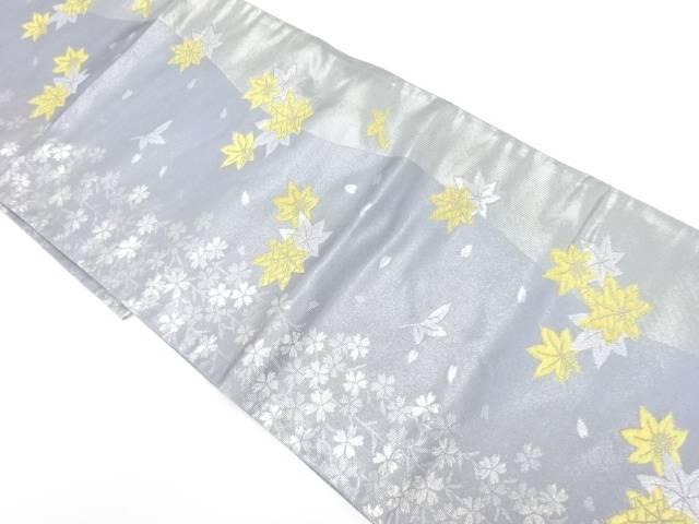 川島織物製 しだれ桜に紅葉模様織出し袋帯【リサイクル】【中古】