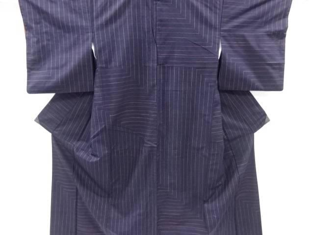 幾何学模様織出手織り真綿紬着物【リサイクル】【中古】