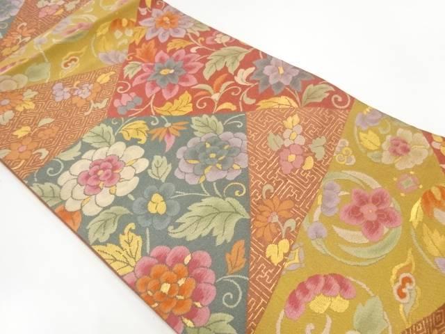 切嵌風草花に古典柄模様織出し袋帯【リサイクル】【中古】