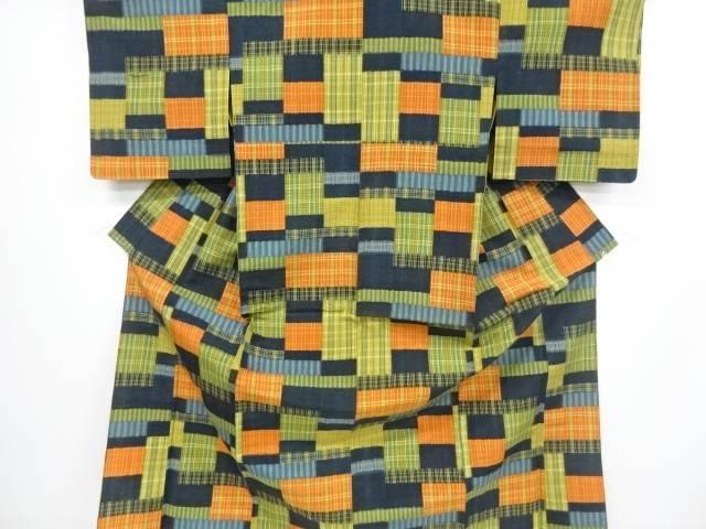 抽象模様織出十日町紬単衣着物【リサイクル】【中古】