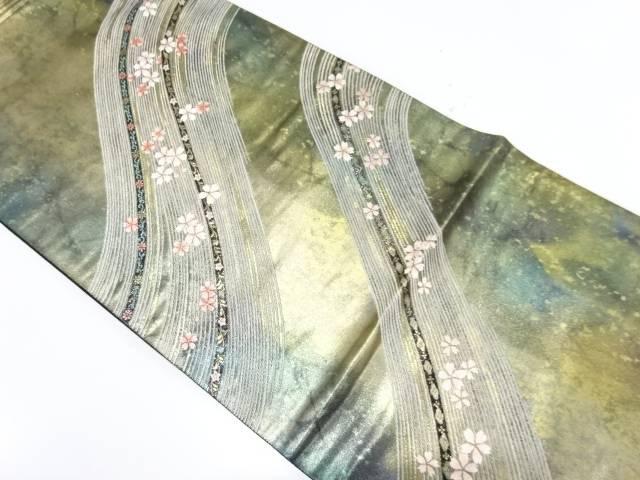 未使用品 引箔流水に桜模様織出し袋帯【リサイクル】【中古】