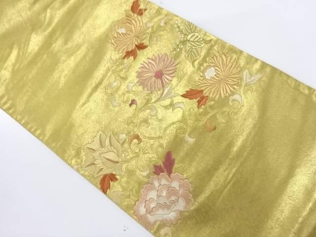 引箔花唐草模様刺繍袋帯【リサイクル】【中古】