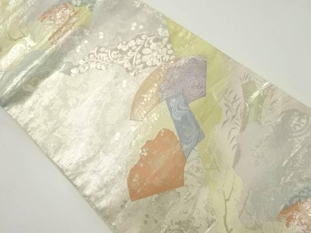 地紙に花鳥更紗模様織り出し袋帯【リサイクル】【中古】