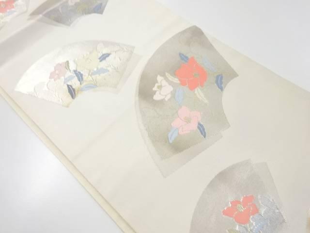 地紙に草花模様織り出し開き名古屋帯(額縁仕立て)【リサイクル】【中古】