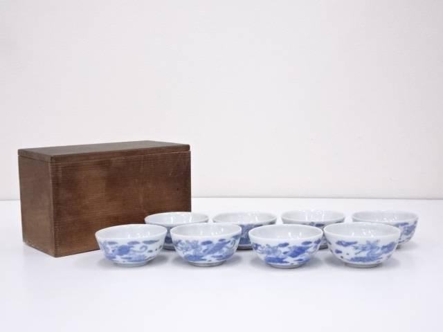古物 染付雲龍文煎茶碗8客