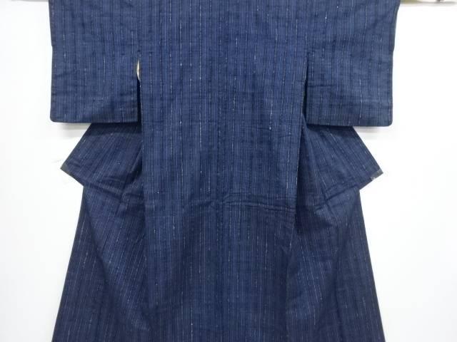 【合計1万円以上の購入で送料無料】  縞織り出し本場結城紬着物(結)【リサイクル】【中古】