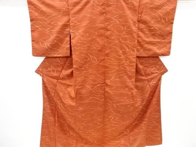 【合計1万円以上の購入で送料無料】  無形文化財本場牛首紬抽象模様着物【リサイクル】【中古】
