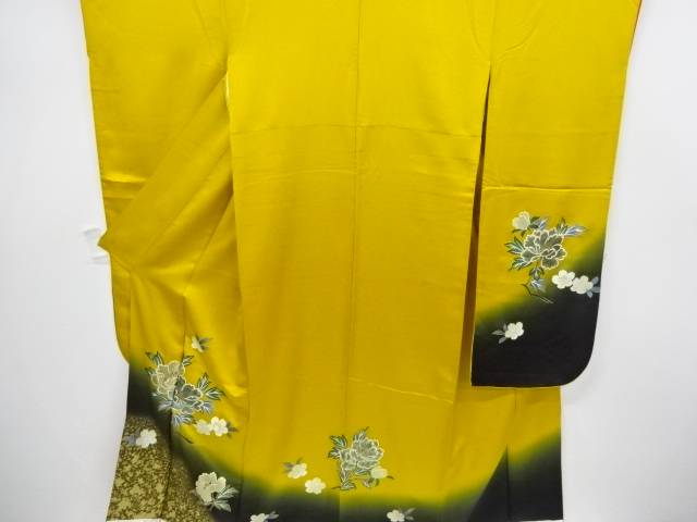 【合計1万円以上の購入で送料無料】  箔置き桜に牡丹模様振袖【リサイクル】【中古】