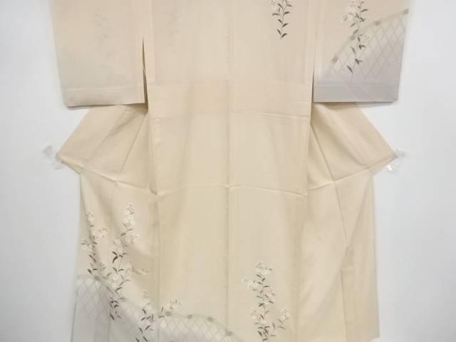 【合計1万円以上の購入で送料無料】  駒絽蛇籠に菊模様刺繍一つ紋訪問着【リサイクル】【中古】