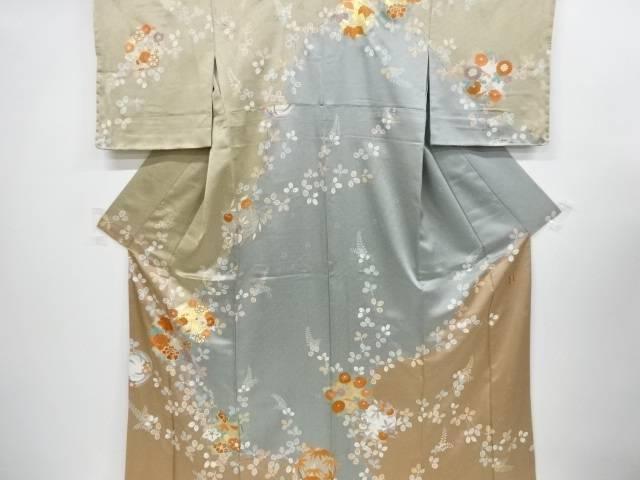 【合計1万円以上の購入で送料無料】  未使用品 仕立て上がり 金彩花丸紋様刺繍訪問着(刺繍衿付き)